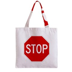 Stop Sign Grocery Tote Bag by Valentinaart