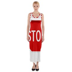 Stop Sign Fitted Maxi Dress