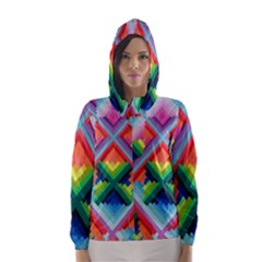 Rainbow Chem Trails Hooded Wind Breaker (women)