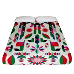 Abstract Peacock Fitted Sheet (queen Size) by Nexatart