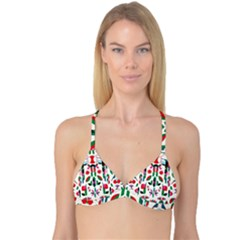 Abstract Peacock Reversible Tri Bikini Top