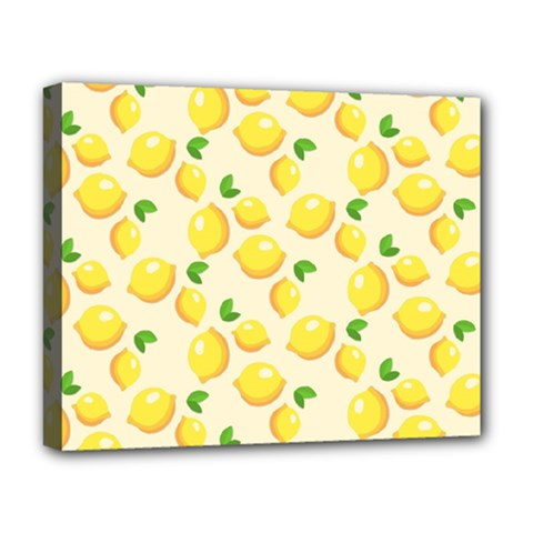 Lemons Pattern Deluxe Canvas 20  X 16   by Nexatart