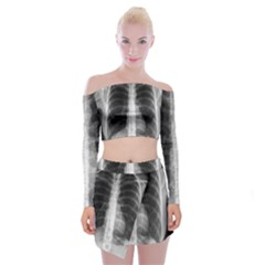 X Ray Off Shoulder Top With Skirt Set