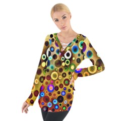 Colorful Circle Pattern Women s Tie Up Tee by Costasonlineshop