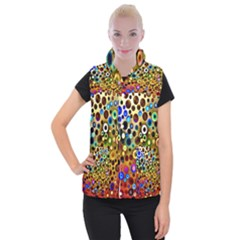 Colorful Circle Pattern Women s Button Up Puffer Vest