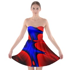 Space Red Blue Black Line Light Strapless Bra Top Dress