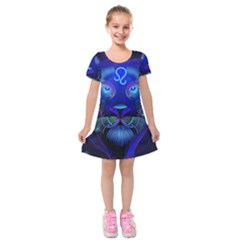 Sign Leo Zodiac Kids  Short Sleeve Velvet Dress by Mariart