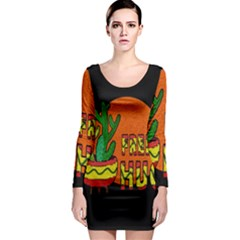 Cactus - Free Hugs Long Sleeve Bodycon Dress by Valentinaart