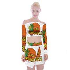 Cactus   Free Hugs Off Shoulder Top With Skirt Set