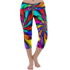 Star Flower Color Rainbow Capri Yoga Leggings