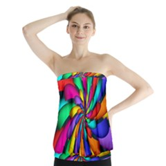 Star Flower Color Rainbow Strapless Top