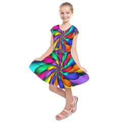 Star Flower Color Rainbow Kids  Short Sleeve Dress by Mariart