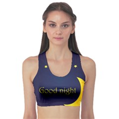 Star Moon Good Night Blue Sky Yellow Light Sports Bra by Mariart