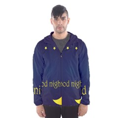 Star Moon Good Night Blue Sky Yellow Light Hooded Wind Breaker (men) by Mariart