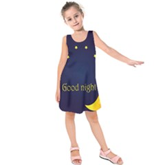Star Moon Good Night Blue Sky Yellow Light Kids  Sleeveless Dress by Mariart