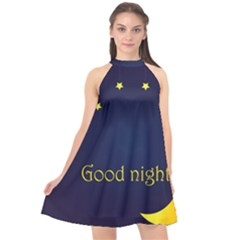 Star Moon Good Night Blue Sky Yellow Light Halter Neckline Chiffon Dress