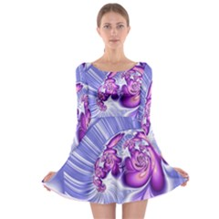 Space Stone Purple Silver Wave Chevron Long Sleeve Skater Dress by Mariart