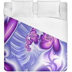 Space Stone Purple Silver Wave Chevron Duvet Cover (king Size) by Mariart