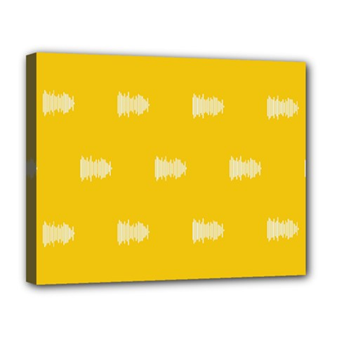 Waveform Disco Wahlin Retina White Yellow Canvas 14  X 11  by Mariart
