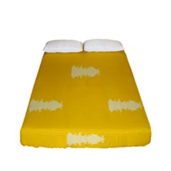 Waveform Disco Wahlin Retina White Yellow Fitted Sheet (full/ Double Size) by Mariart