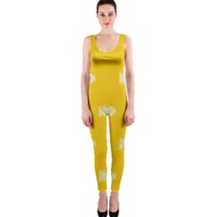 Waveform Disco Wahlin Retina White Yellow Onepiece Catsuit by Mariart