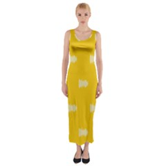 Waveform Disco Wahlin Retina White Yellow Fitted Maxi Dress