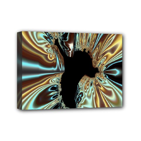Silver Gold Hole Black Space Mini Canvas 7  X 5  by Mariart