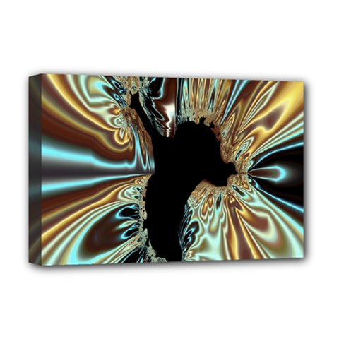 Silver Gold Hole Black Space Deluxe Canvas 18  X 12   by Mariart