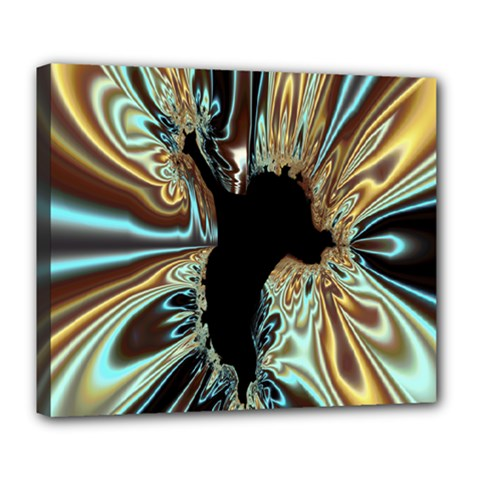 Silver Gold Hole Black Space Deluxe Canvas 24  X 20   by Mariart