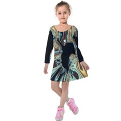 Silver Gold Hole Black Space Kids  Long Sleeve Velvet Dress by Mariart