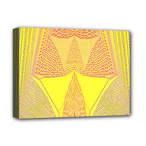 Wave Chevron Plaid Circle Polka Line Light Yellow Red Blue Triangle Deluxe Canvas 16  X 12   by Mariart