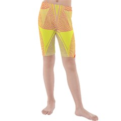 Wave Chevron Plaid Circle Polka Line Light Yellow Red Blue Triangle Kids  Mid Length Swim Shorts by Mariart