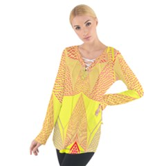 Wave Chevron Plaid Circle Polka Line Light Yellow Red Blue Triangle Women s Tie Up Tee by Mariart