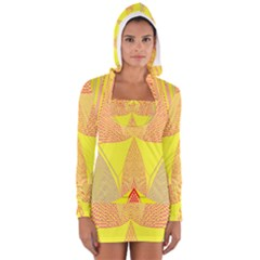 Wave Chevron Plaid Circle Polka Line Light Yellow Red Blue Triangle Women s Long Sleeve Hooded T-shirt by Mariart