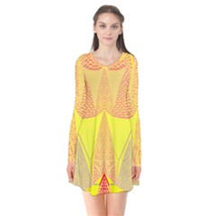Wave Chevron Plaid Circle Polka Line Light Yellow Red Blue Triangle Flare Dress by Mariart