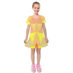 Wave Chevron Plaid Circle Polka Line Light Yellow Red Blue Triangle Kids  Short Sleeve Velvet Dress by Mariart
