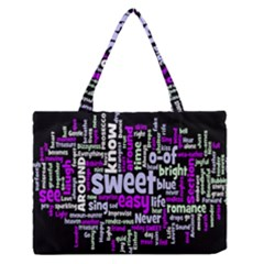Writing Color Rainbow Sweer Love Medium Zipper Tote Bag by Mariart