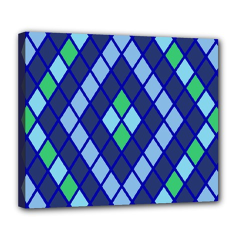 Blue Diamonds Green Grey Plaid Line Chevron Deluxe Canvas 24  X 20   by Mariart