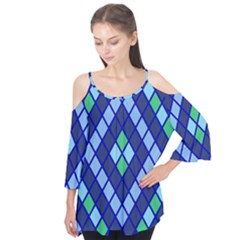 Blue Diamonds Green Grey Plaid Line Chevron Flutter Tees by Mariart