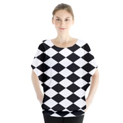 Diamond Black White Plaid Chevron Blouse by Mariart