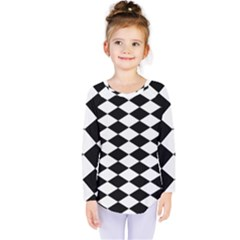 Diamond Black White Plaid Chevron Kids  Long Sleeve Tee