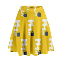Fog Machine Fogging White Smoke Yellow High Waist Skirt by Mariart