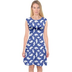 Birds Silhouette Pattern Capsleeve Midi Dress by dflcprintsclothing