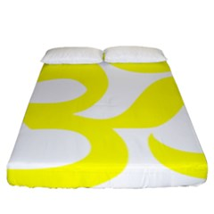 Hindu Om Symbol (maze Yellow) Fitted Sheet (king Size) by abbeyz71