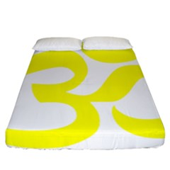 Hindu Om Symbol (maze Yellow) Fitted Sheet (california King Size) by abbeyz71