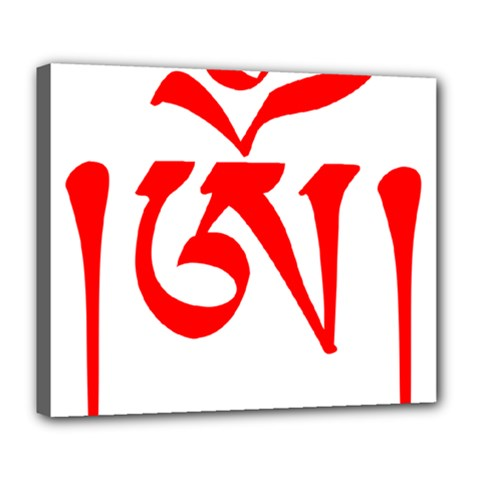 Tibetan Om Symbol (red) Deluxe Canvas 24  X 20   by abbeyz71
