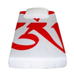 Tibetan Om Symbol (red) Fitted Sheet (single Size) by abbeyz71