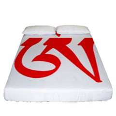 Tibetan Om Symbol (red) Fitted Sheet (queen Size) by abbeyz71