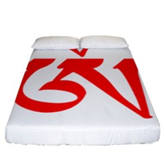 Tibetan Om Symbol (red) Fitted Sheet (king Size) by abbeyz71