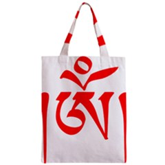 Tibetan Om Symbol (red) Zipper Classic Tote Bag by abbeyz71